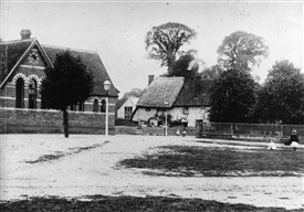 :  St Nicholas School, opened 1865 on the site of two cottages: the cottages to the right were church cottages, not part of the school | LHS archives